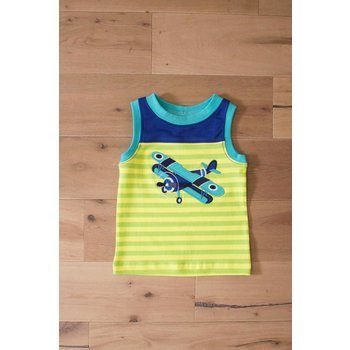 Wally & Willie Airplane Striped Tank Top