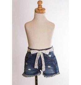 MLKids Dark Wash  Shorts With Lace
