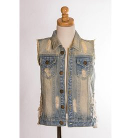 MLKids Denim and Lace Ruffle Vest