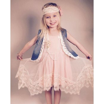 MLKids Peach Lace Tank Dress Tween
