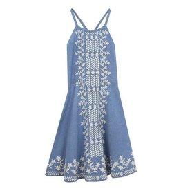 Rare Editions Light Denim Dress With White Stitch Work