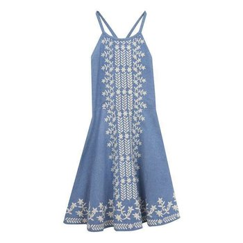 Rare Editions Chambray Dress With White Stitch Work