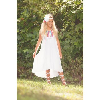 Peaches 'n Cream White Gauze Neon Beach Dress