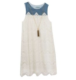 Rare Editions Denim and Lace Dress With Tassel Necklace