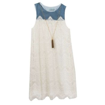 Rare Editions Chambray and Lace Dress With Tassel Necklace