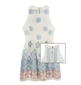 Rare Editions Blue and Coral Crepe Border Print Dress