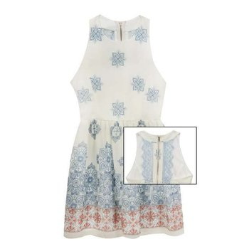 Rare Editions Blue and Coral Crepe Border Print Dress