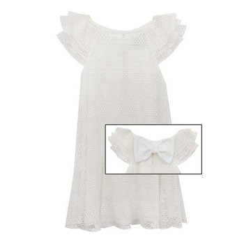Rare Editions Off White Pleated Lace Dress
