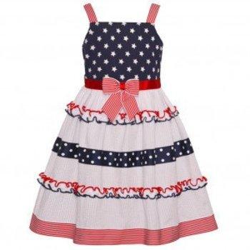 Bonnie Baby Red/White/Blue Ruffle Dress