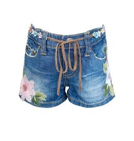 Baby Sara Denim Shorts With Flower Patches