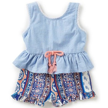 Rare Editions Chambray Mixed Media Romper