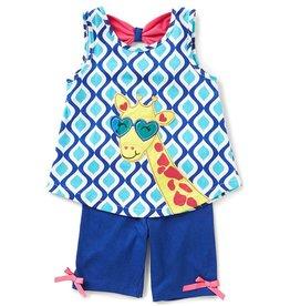 Rare Editions Royal Blue Giraffe Tunic And Short Set