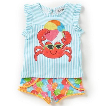 Rare Editions Beach Ball Crab Tunic And Short Set