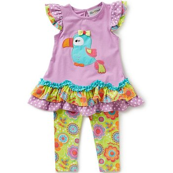 Rare Editions Purple Parrot Tunic And Legging Set