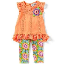 Rare Editions Orange Burst Lace Tunic and Legging Set