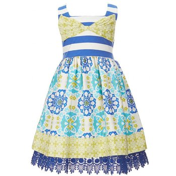 Counting Daisies Striped Madallion Print Dress