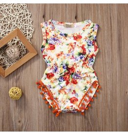 Bright Floral Romper With Orange Pom Poms