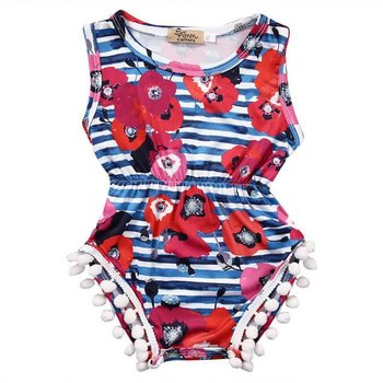 Blue Striped Pink Flower Romper