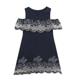 Rare Editions Navy and White Cold Shoulder Dress