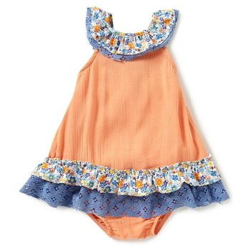 Rare Editions Orange Gauze Dress with Floral Ruffle