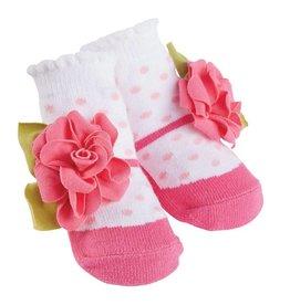 Mud Pie Pink Mary Jane Flower Sock