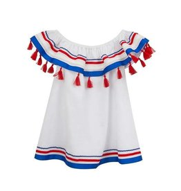 Rare Editions Red White and Blue Dress with Red Tassels