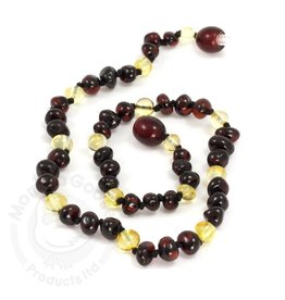 Momma Goose Baroque Cherry & Lemon Amber Teething Necklace