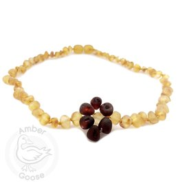 Momma Goose Honey with Cherry Flower Amber Teething Neckalce