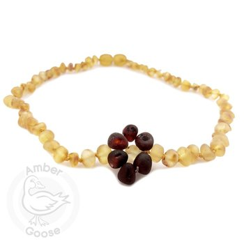 Momma Goose Honey with Cherry Flower Amber Teething Neckalce