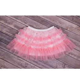 Calla Lily Pink and White Mesh Lace Skirt