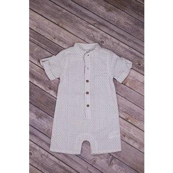 Frenchie Color Stitch Linen Play Suit