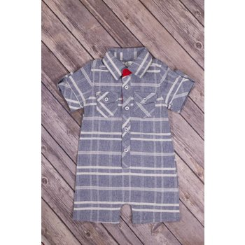 Frenchie Blue Plaid Play Suit