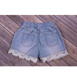 Mae Li Rose Eyelet Trim Light Blue Denim Shorts