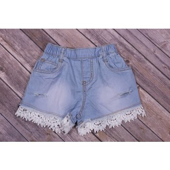 Mae Li Rose Eyelet Trim Light Blue Denim Shorts