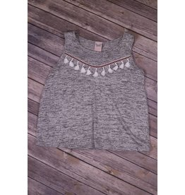 Paper Crane Heather Grey Mini Tassel Top