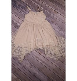 MLKids Beige Lace Tank Dress