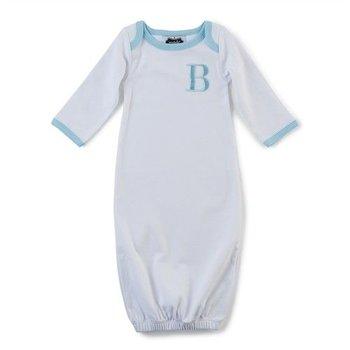 "Mud Pie Blue ""A"" Initial Sleeper Gown"