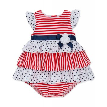 Little Me Stars and Stripes Tiered Dress
