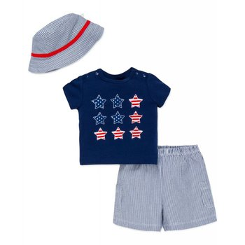 Little Me Boys stars and stripes shorts set