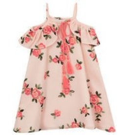 Rare Editions Peach with Embroidery Flowers Dress