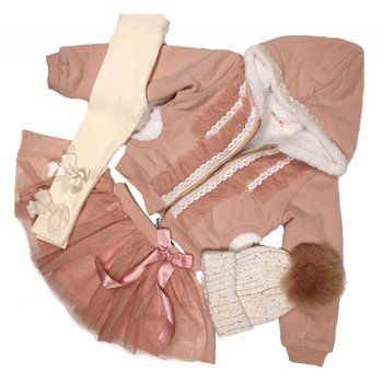 Mae Li Rose Zip Up Antique Rose Sherpa Lined Jacket