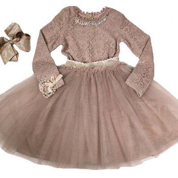 Mae Li Rose Mauve Lace Midi Dress