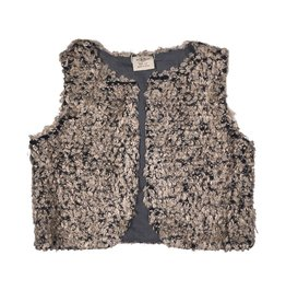 Mae Li Rose Gray And Silver Fuzzy Cropped Vest