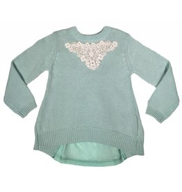 Mae Li Rose Mint Lace Back Sweater