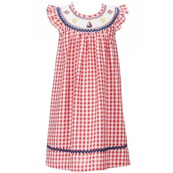 Bonnie Baby American Smocked Gingham Dress