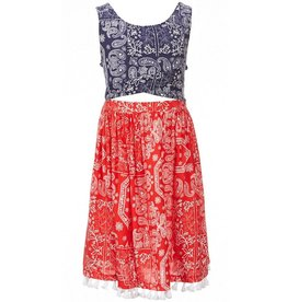 Bonnie Jean Red White and Blue Paisley Tassel Dress