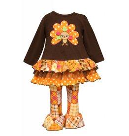 Bonnie Baby Tiered Long Sleeve Turkey Tunic Set