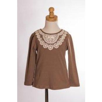 MLKids Mocha Crochet Neckline Long Sleeve Shirt