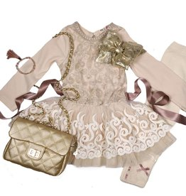 Mae Li Rose Gold and Ivory Ruffle Dress