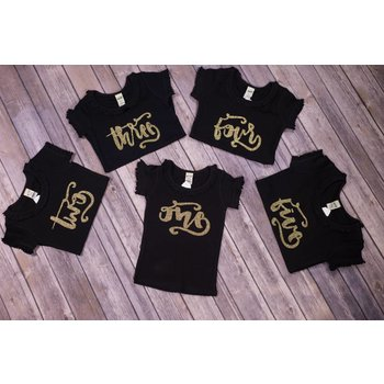 "Jujubee Bowtique Black & Gold ""Yearly Birthday""Shirts"